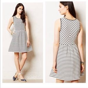 Anthropologie Maeve Mitred Stripe Diamond Dress